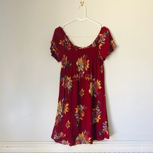 Patrons of Peace Maroon Floral Smock Flowy Blouse